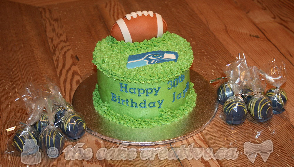 Seattle Seahawks Themed Birthday Cake With Matching Truffles