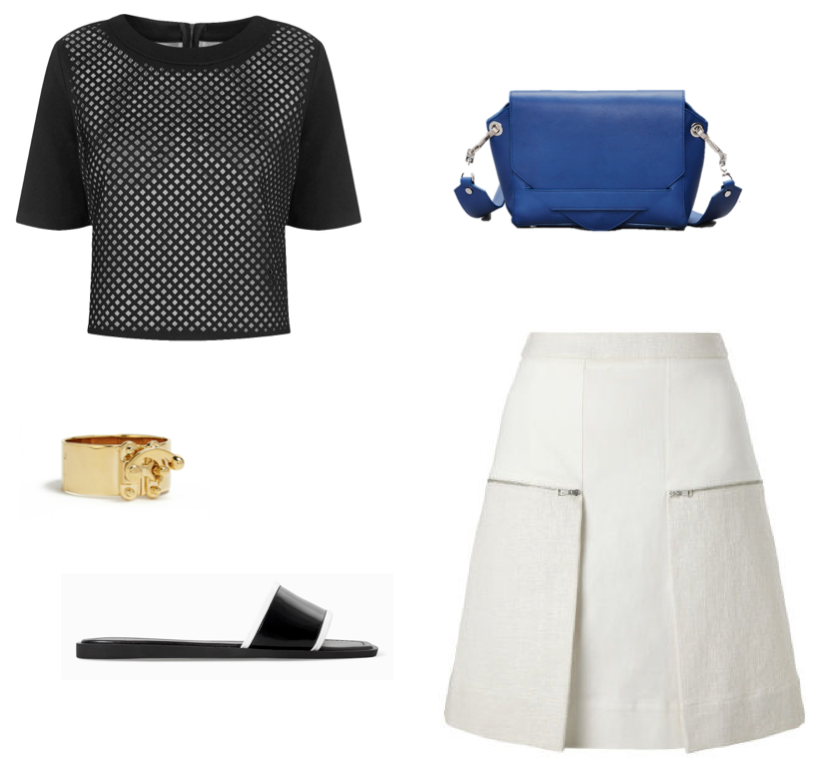Topshop lasercut top Whistles zippy skirt Eddie Borgo hook latch cuff