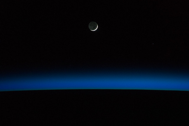 Crescent Moon Over Earth (NASA, International Space Station, 05/30/14)
