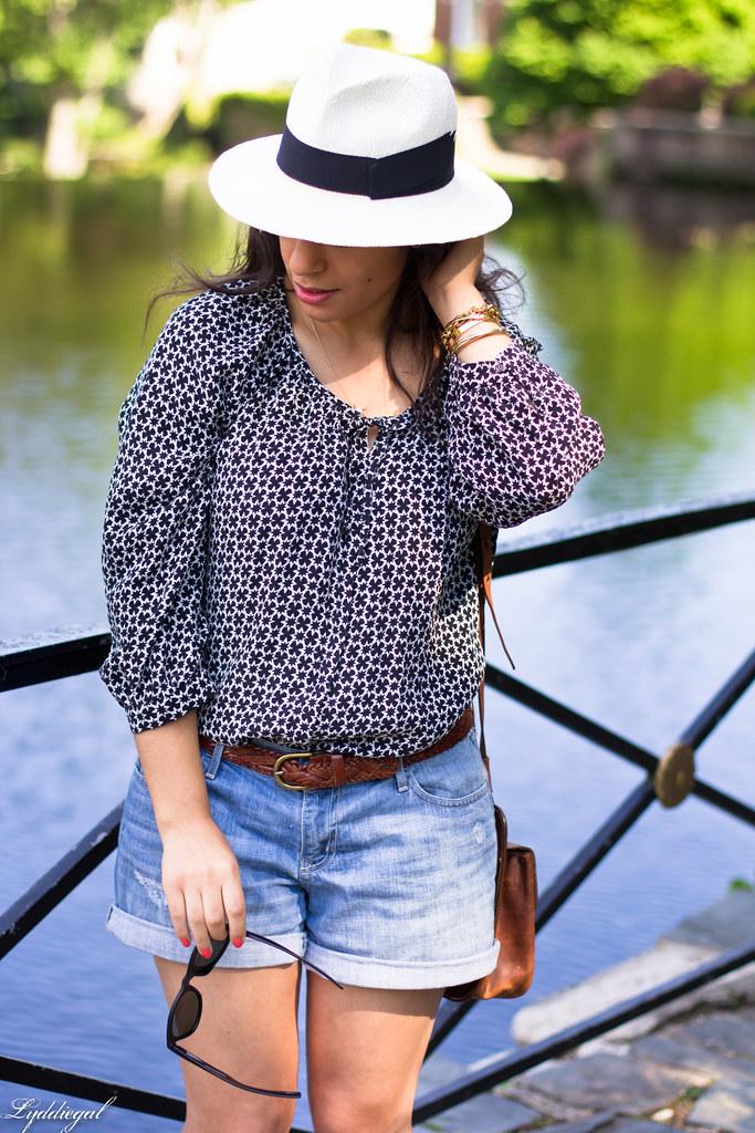 denim shorts, bohemian blouse, trask bag-7.jpg