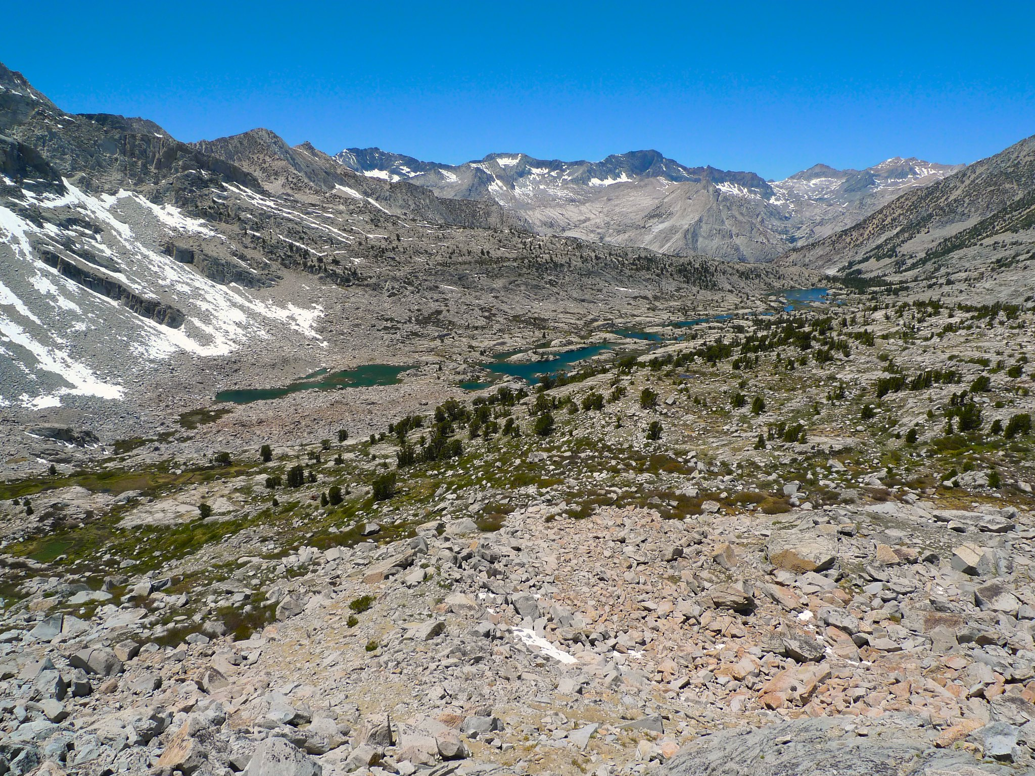 Looking down at lower Dusy Basin and the ridiculous talus I've been crossing