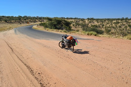 Gravel to tar road on C28, Namibia