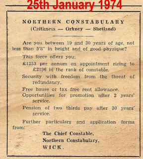 Northern Constabulary (Caithness-Orkney-Shetland) recruiting advert 1974