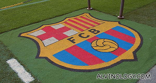 Club crest on the field
