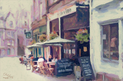 Painted image of a cafe in Edinburgh, Scotland
