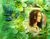 Renaissance beauty in green flower paper art journal page