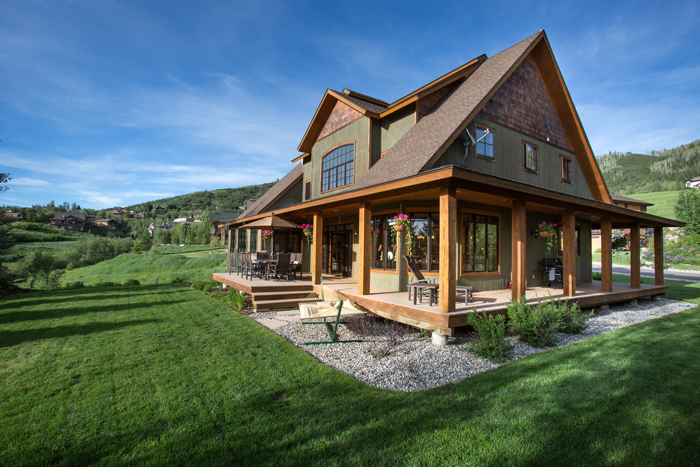Wraparound porch, mountain home, Steamboat Springs