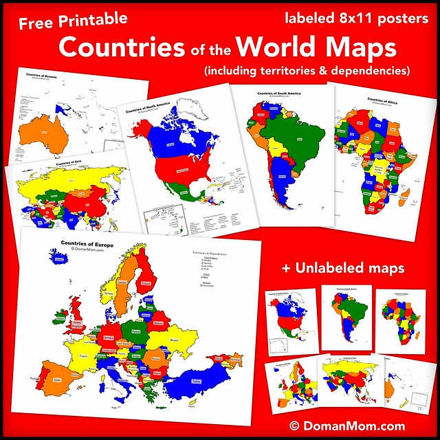 Free Colorful Countries of the World Maps (including territories)