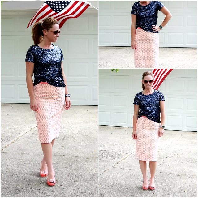 cute modest pencil skirt outfits for summer via Kristina J blog