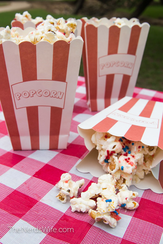 Firecracker Popcorn with Red Pop Rocks and Blue Sprinkles