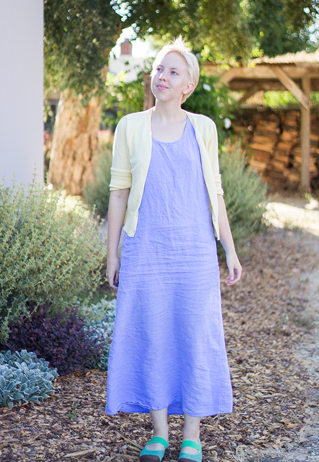 summer garden, light yellow cardigan, pale blue linen maxi dress