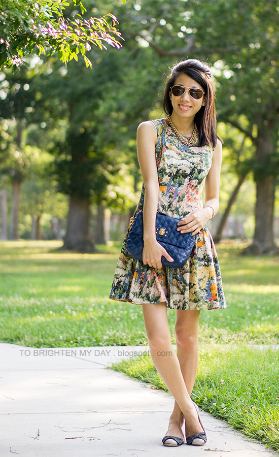 wildflower printed dress, blue bag, bow ballet flats