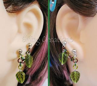 Double Lobe Connecting Chain Leaf Earrings - Brown and Green