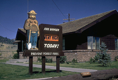 """Smokey Bear fire danger signs can be seen on many national forests and grasslands as a reminder to visitors that, """"Only YOU can prevent wildfires."""" (U.S. Forest Service)"""