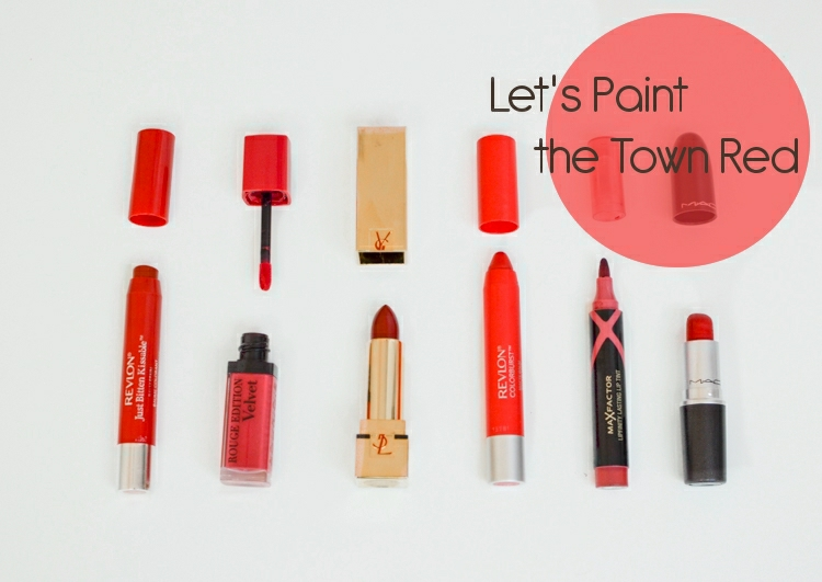 Let's Paint the Town Red - Red Lips. Bourjois, Revlon, Mac, Max Factor
