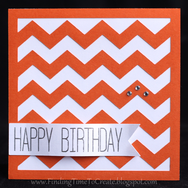 Chevron Birthday Card - orange
