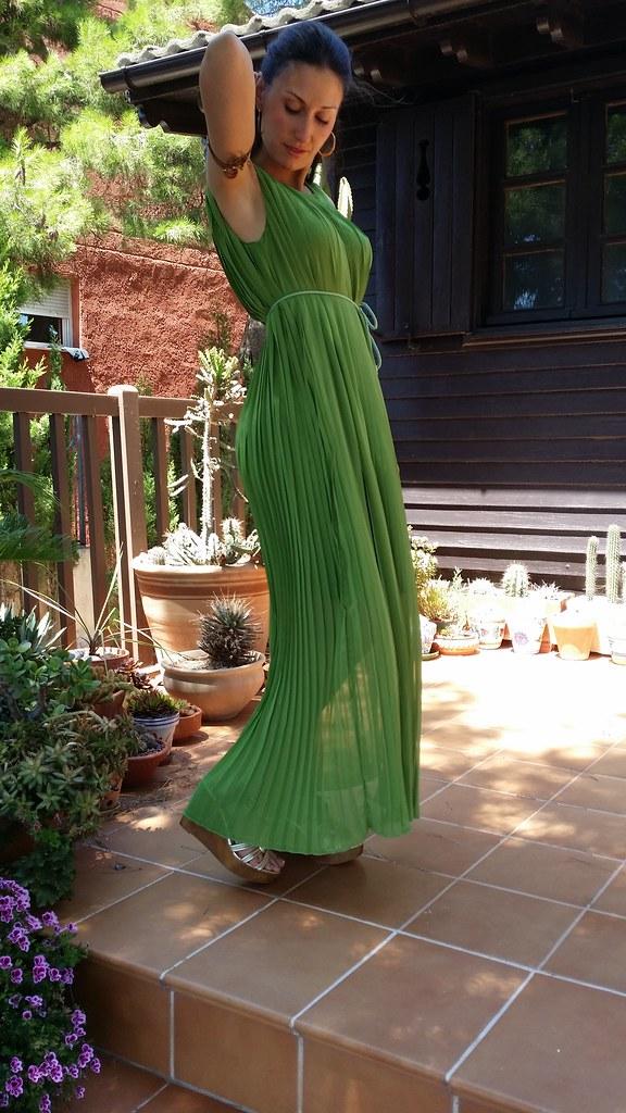 maxi dresses, griego, verde hoja, dorado, plisado, cuñas doradas de madera, Greek, green leaf, golden, pleated, golden wooden wedges, Aliexpress, Bimba & Lola, Lowlita & You