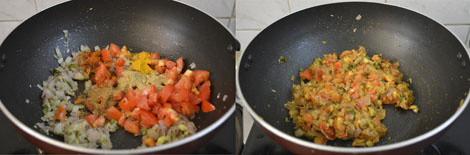 frying tomatoes for cauliflower kurma