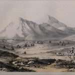 GC142 John Mix Stanley from R.H. Kern Sketch; WAH-HA-TA-GAS or Spanish Peaks, from near Cuchara; 1855; Tinted Lithograph - From The Graham and Barbara Curtis Collection