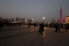 Twilight along the Huangpu River promenade