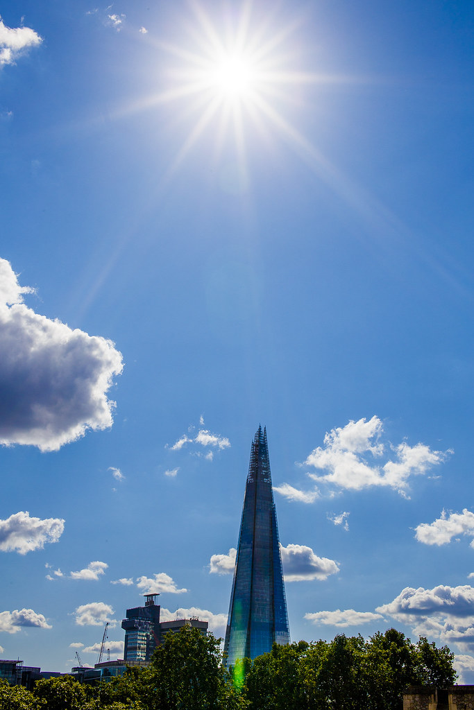 Sun shining above the Shard building