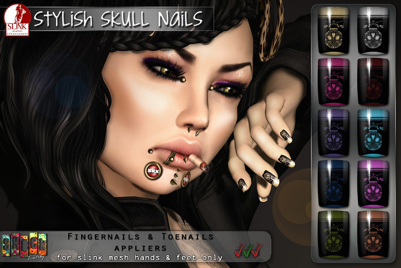 [ S H O C K ] Stylish Skull Slink Nails @ Black Fashion Fair