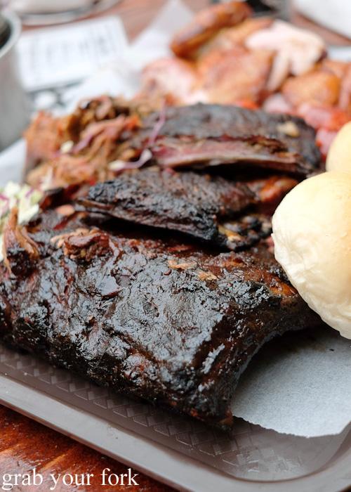 Pork ribs, beef ribs and lamb ribs at the Oxford Tavern, Petersham