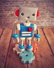 Robot 1st Birthday Cake Topper | Square Thin in Blue and Red
