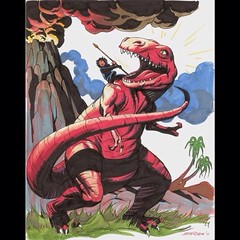 Devil Dinosaur and Moon Boy, by Steve Rude. #comics