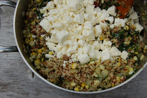 Quinoa, corn, spinach & feta for the stuffed peppers by Eve Fox, the Garden of Eating, copyright 2014