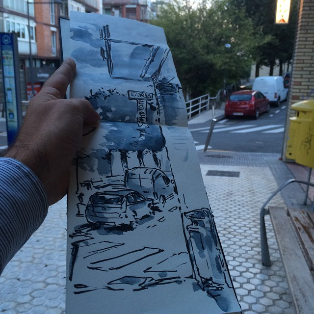 #urbansketch #pentel #donosti #watercolor