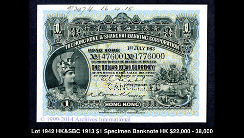 Lot 1942 Hong Kong & Shanghai Banking Association 1913 $1 Specimen Banknote
