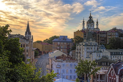 street old morning blue trees summer white green history church clouds sunrise cathedral spires empty capital places nobody ukraine historic standrews kiev kyiv stately podil andriyivsky
