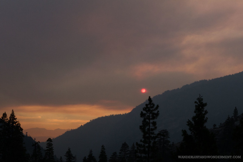Smoky air and red sun
