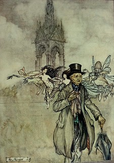 Old Mr. Salford, a Crab Apple of an Old Gentleman in the Gardens.  Art by Arthur Rackham