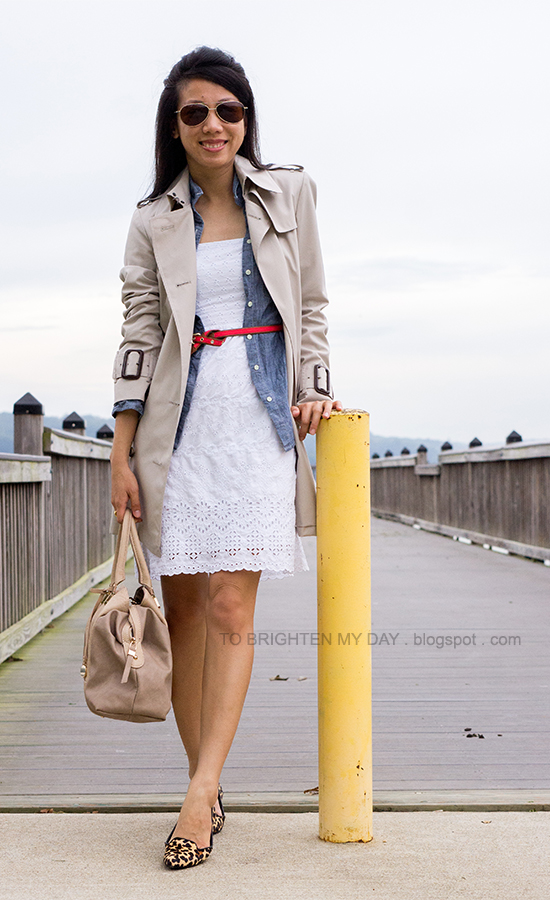 trench coat, chambray shirt, white eyelet dress, leopard flats