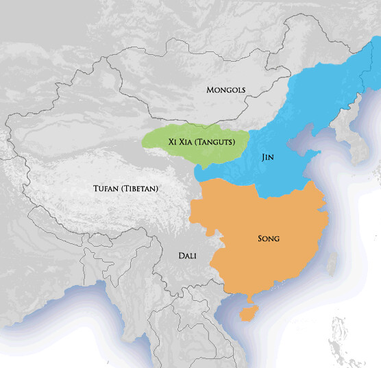China with Western Xia depicted in green, based on a map in Albert Herrmann