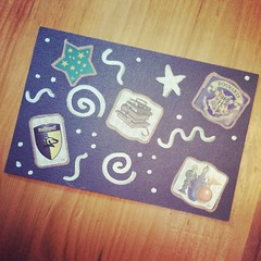 A #postcard made for my girl with #HarryPotter stickers and metallic #Sharpie. #geekmom