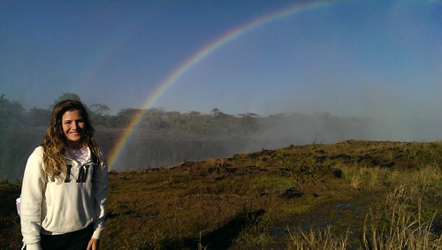 A recipient of the Smith Family Scholarship for study abroad visiting Victoria Falls during her study abroad program in South Africa.