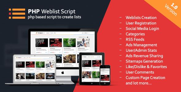 PHP Web List Script v.1.6