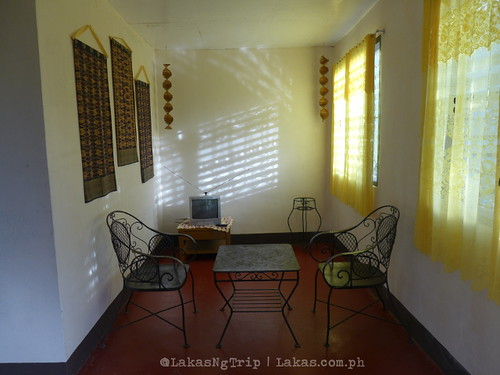 The sala downstairs with a small TV. DDD Habitat Inc., in Lorega, Kitaotao, Bukidnon