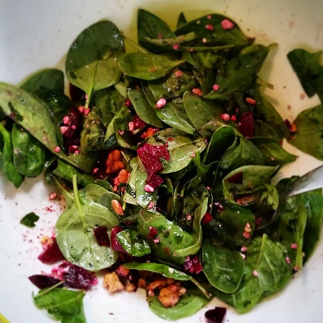 Spinach with beets, goat cheese, and walnuts. And with this simple dish I actually like beets! @freshforkmarket #freshforkmarket # beets #csa