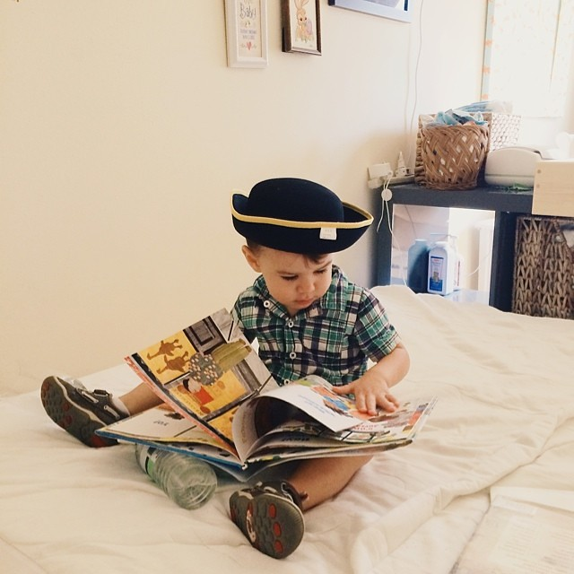 The historian part of my soul approves mightily of his choice in hatwear. Actually, all of me approves. #ineedtoremovethetag #instaluther #toddler #children #hatwear #headgear