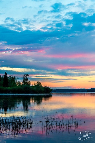 sunset canada water clouds landscape purple lakes alberta refection lakeisle drewmayphotography