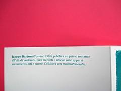 Romanzi, collana di Tunué edizioni. Progetto grafico di Tomomot; impaginazione di TunuéLab. Risvolto della quarta di copertina [Barison] (part.), 2