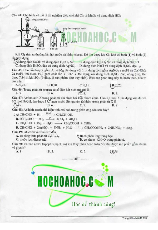 đáp án môn Hóa học – khối B 2014