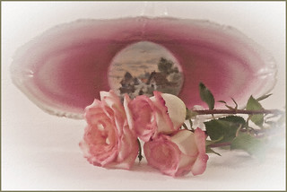 Pink Roses And Vintage Tray Still Life Digital Oil Art Work