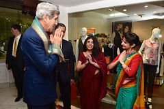 U.S. Secretary of State John Kerry expresses his thanks after receiving a scarf during a traditional arrival ceremony at his hotel in New Delhi, India, on July 30, 2014, after he traveled for a Strategic Dialogue with Commerce Secretary Penny Pritzer. [State Department photo/ Public Domain]