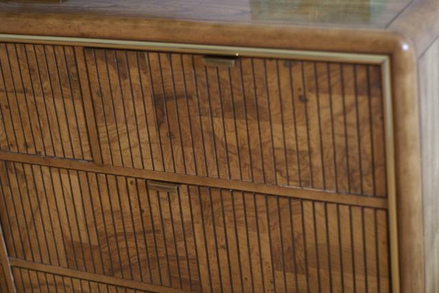 retro burl wood dresser with brass