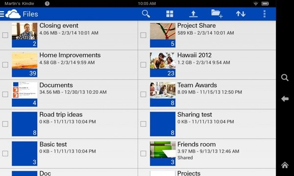 OneDrive для Kindle Fire и Fire Phone